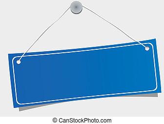 Blue hanging label, vector