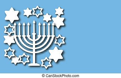 Blue Hanukkah background - Hanukkah blue background with...