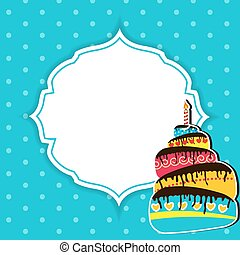 Happy Birthday Card Vector Illustration - Blue Happy...