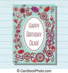 Blue happy birthday dear card on wooden background