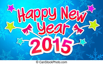 Blue Happy New Year 2015 Greeting