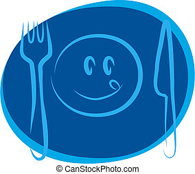 blue happy smiley face with fork and knife , design template