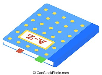 Blue Hardback Dictionary Isometric Vector Image - Hardback ...