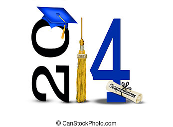 Gold tassel and blue cap for graduation 2014.