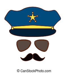blue hat, glasses and mustache police