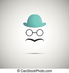 blue hat with a mustache on the background