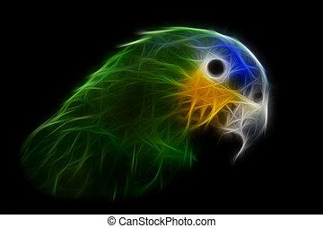 Blue Headed Parrot Bird Illustration Isolated On Black