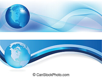 blue headers - Heades width abstract blue background for...