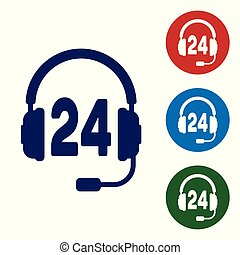 Blue Headphone for support or service icon on white background. Concept of consultation, hotline, call center, faq, maintenance, assistance. Set color icon in circle buttons. Vector Illustration
