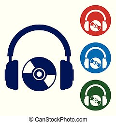 Blue Headphones and CD or DVD icon isolated on white background. Earphone sign. Compact disk symbol. Set color icon in circle buttons. Vector Illustration