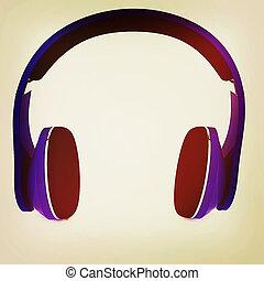 Blue headphones icon. 3D illustration. Vintage style.