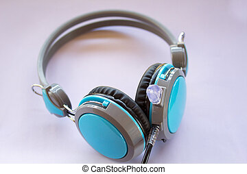 Blue headphones on white background