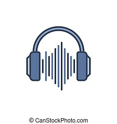 Blue Headphones with sound wave icon. Vector concept sign
