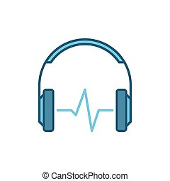 Blue headphones with sound wave vector icon