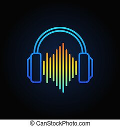 Blue Headphones with sound wave vector outline icon