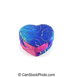 Blue heart box mulberry paper isolation