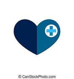 Blue heart cross medicine flat icon