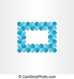 blue heart frame card vector background