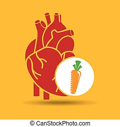 blue heart fresh carrot icon graphic