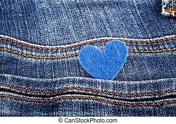 Blue heart in jeans pocket