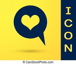 Blue Heart in speech bubble icon isolated on yellow background. Heart shape in message bubble. Love sign. Valentines day symbol. Vector Illustration