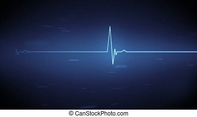Blue ECG heart monitor line with moving black and blue background