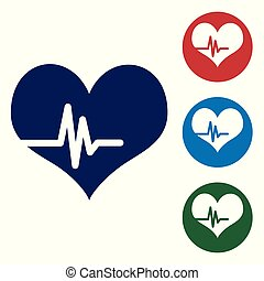Blue Heart rate icon isolated on white background. Heartbeat sign. Heart pulse icon. Cardiogram icon. Vector Illustration