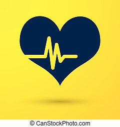 Blue Heart rate icon isolated on yellow background. Heartbeat sign. Heart pulse icon. Cardiogram icon. Vector Illustration