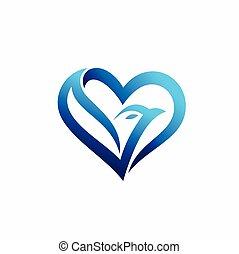 blue heart with a bird concept