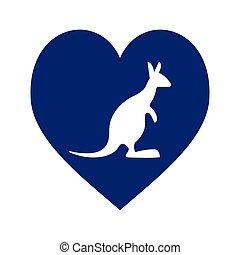 blue heart with australia kangaroo