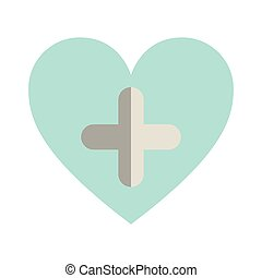 blue heart with cross form