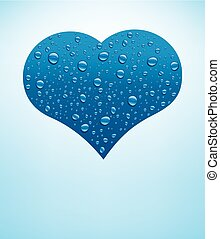 blue heart with many water drops