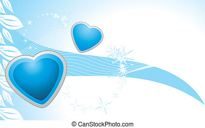 Blue hearts. Abstract background