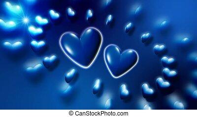 Blue hearts circling