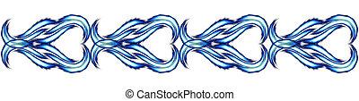 Blue hearts pattern chain
