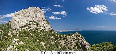 blue hegy, ég, sziklás, tenger