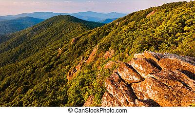 blue hegy, hegygerinc, csúcsok, appalachian, nemzeti, virginia, nyom, shenandoah, liget, mentén, kilátás