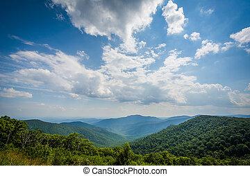 blue hegy, hegygerinc, virginia., nemzeti, autózás, shenandoah, liget, láthatár, kilátás
