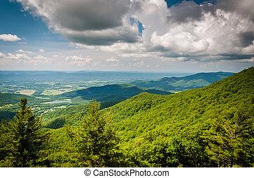 blue hegy, hegygerinc, virginia., nemzeti, láthatár, shenandoah, liget, autózás, kilátás