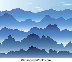 blue hegy, köd, reggel