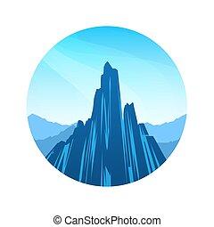 blue hegy, külső, színpadi, vektor, kerek, táj