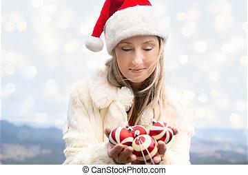 blue hegy, nő, apróságok, -, birtok, karácsony
