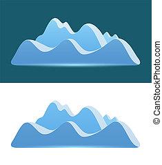 blue hegy, -, sötét, háttér., jel, fehér