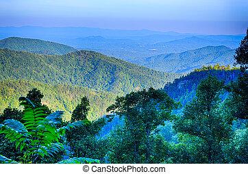 blue hegygerinc parkway, nemzeti park, napnyugta, színpadi, hegyek, nyár