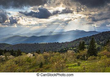 blue hegygerinc parkway, táj, north carolina, appalachian hegy, este, napnyugta, fotográfia, déli, közül, asheville, éc