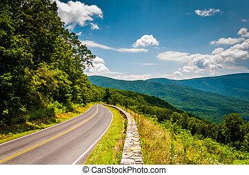 blue hegygerinc, virginia., nemzeti, autózás, shenandoah,...