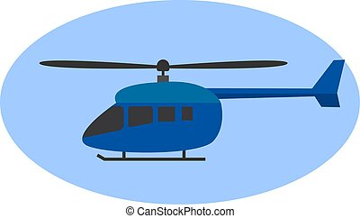 Blue helicopter, illustration, vector on white background.
