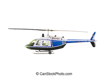 blue helicopter isolated white back
