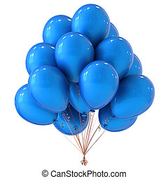 Blue helium balloons bunch party  decoration classic