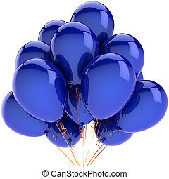Blue balloons party decoration. Happiness joyful holiday emotion abstract. Birthday anniversary celebration concept. This is a detailed 3D render. Isolated on white background